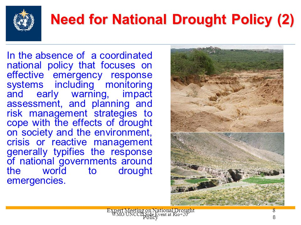 Expert Meeting on National Drought Policy 8 Need for National Drought Policy (2) In the absence of a coordinated national policy that focuses on effective emergency response systems including monitoring and early warning, impact assessment, and planning and risk management strategies to cope with the effects of drought on society and the environment, crisis or reactive management generally typifies the response of national governments around the world to drought emergencies.