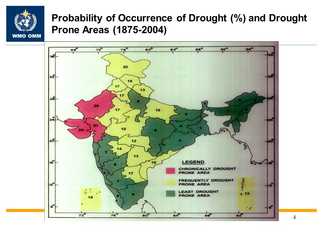 WMO OMM 4 Probability of Occurrence of Drought (%) and Drought Prone Areas (1875-2004)