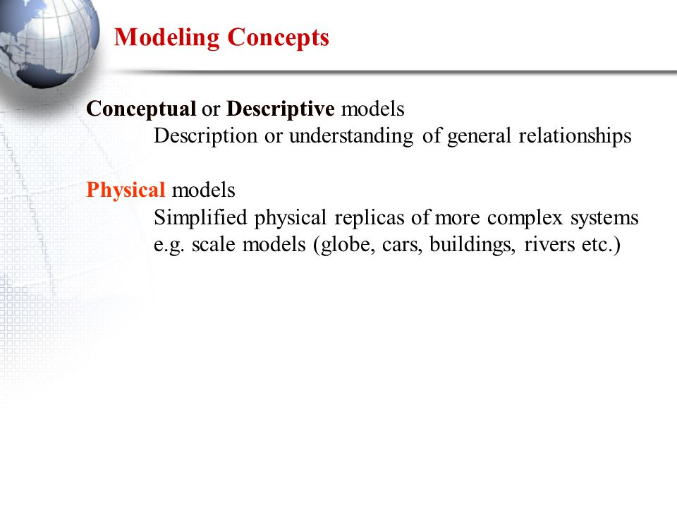 Conceptual or Descriptive models Description or understanding of general relationships Physical models Simplified physical replicas of more complex systems e.g.