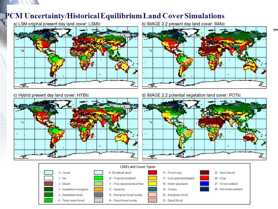 PCM Uncertainty/Historical Equilibrium Land Cover Simulations