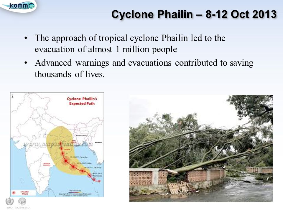 Cyclone Phailin – 8-12 Oct 2013 The approach of tropical cyclone Phailin led to the evacuation of almost 1 million people Advanced warnings and evacuations contributed to saving thousands of lives.