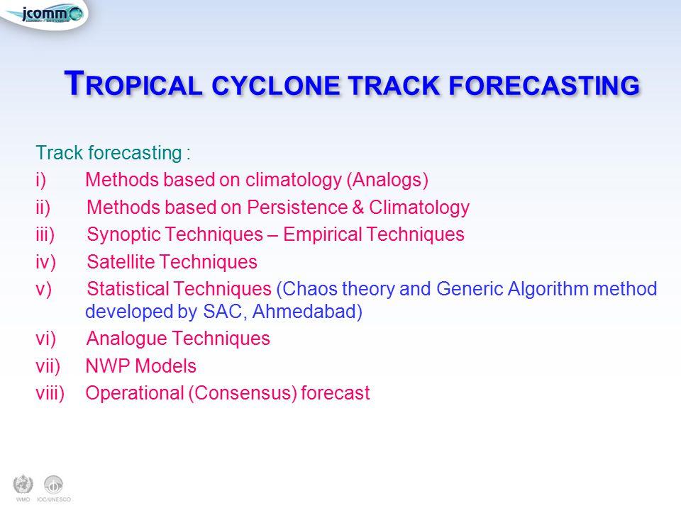 T ROPICAL CYCLONE TRACK FORECASTING Track forecasting : i)Methods based on climatology (Analogs) ii)Methods based on Persistence & Climatology iii)Syn