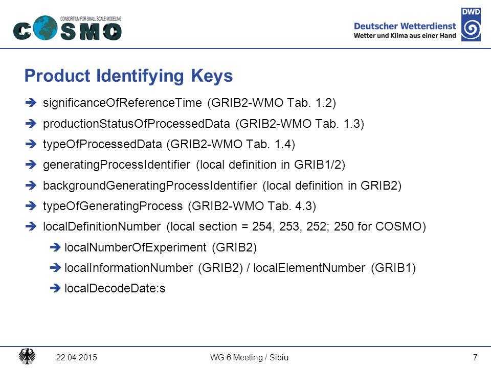 Deutscher Wetterdienst Product Identifying Keys  significanceOfReferenceTime (GRIB2-WMO Tab. 1.2)  productionStatusOfProcessedData (GRIB2-WMO Tab. 1