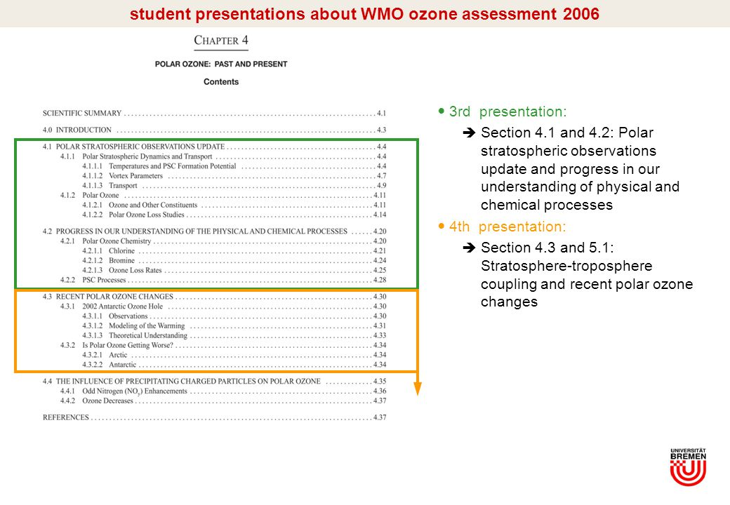 I/13 student presentations about WMO ozone assessment 2006 3rd presentation:  Section 4.1 and 4.2: Polar stratospheric observations update and progress in our understanding of physical and chemical processes 4th presentation:  Section 4.3 and 5.1: Stratosphere-troposphere coupling and recent polar ozone changes