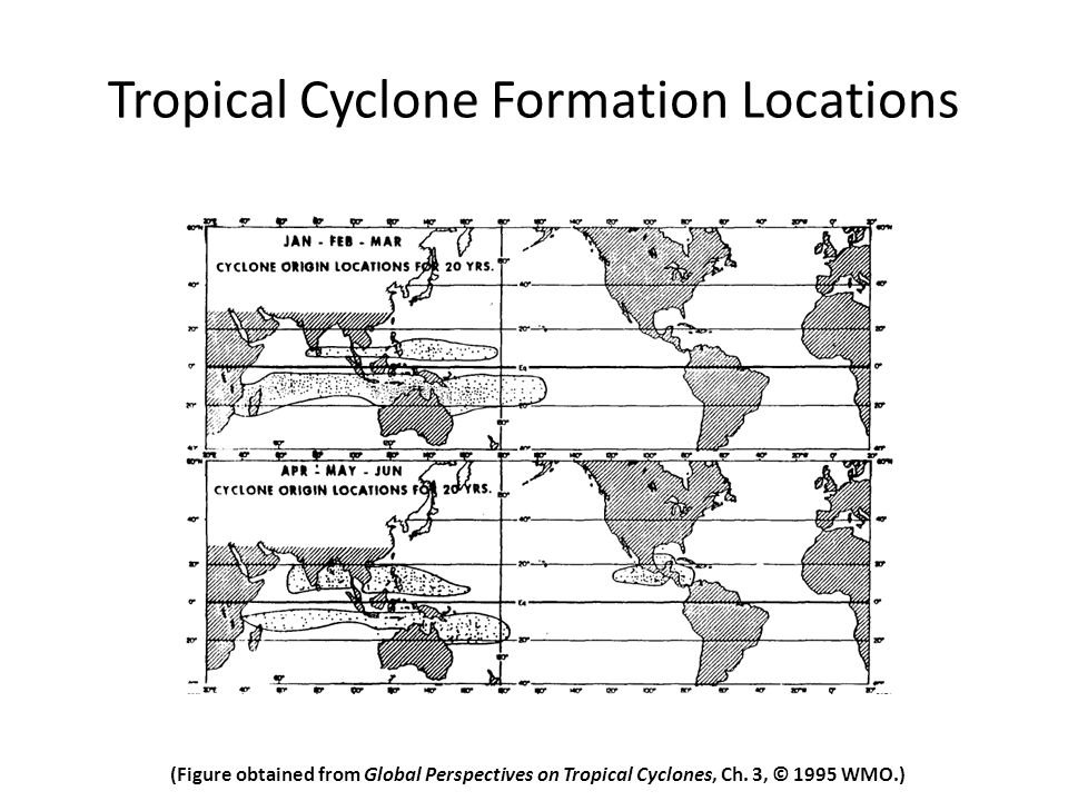 Tropical Cyclone Formation Locations (Figure obtained from Global Perspectives on Tropical Cyclones, Ch.