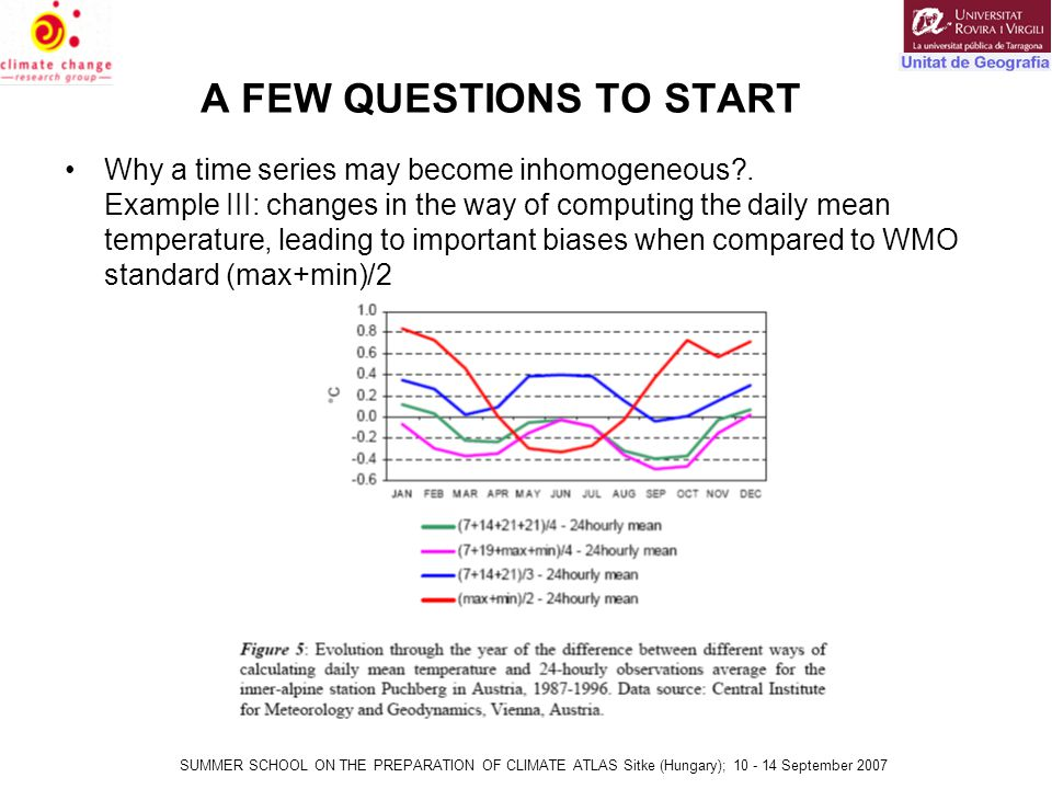 SUMMER SCHOOL ON THE PREPARATION OF CLIMATE ATLAS Sitke (Hungary); 10 - 14 September 2007 A FEW QUESTIONS TO START Why a time series may become inhomogeneous .