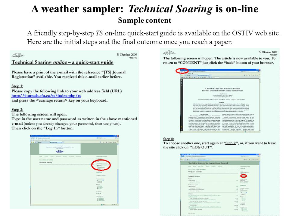11 A weather sampler: Technical Soaring is on-line Sample content A friendly step-by-step TS on-line quick-start guide is available on the OSTIV web site.