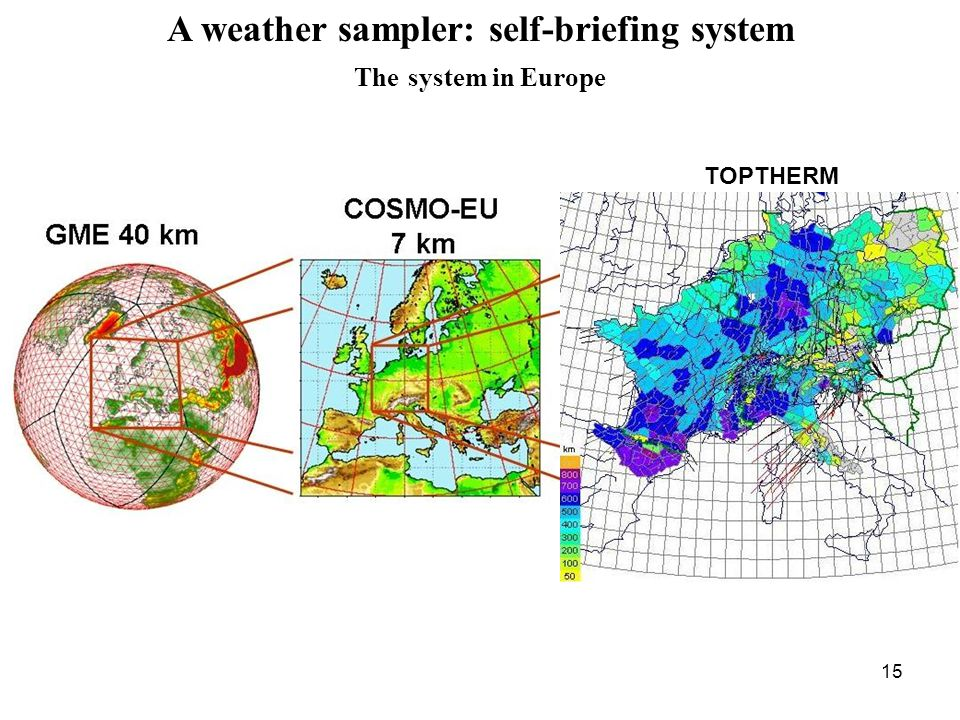 15 A weather sampler: self-briefing system The system in Europe TOPTHERM