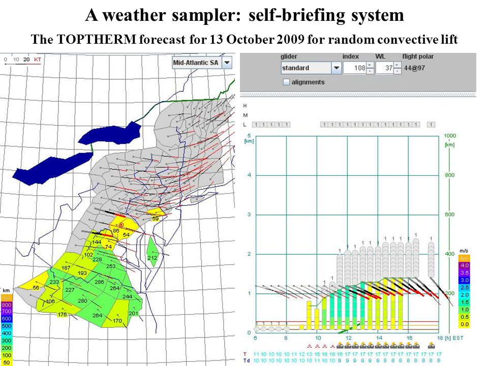 17 A weather sampler: self-briefing system The TOPTHERM forecast for 13 October 2009 for random convective lift