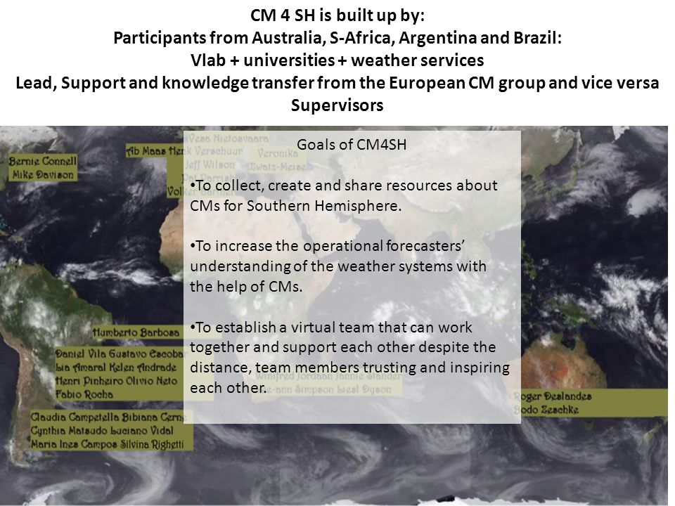 CM 4 SH is built up by: Participants from Australia, S-Africa, Argentina and Brazil: Vlab + universities + weather services Lead, Support and knowledge transfer from the European CM group and vice versa Supervisors Goals of CM4SH To collect, create and share resources about CMs for Southern Hemisphere.