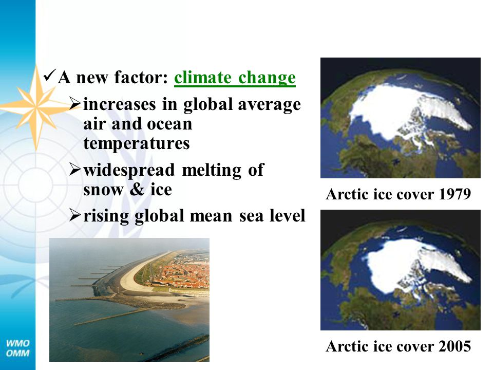 Arctic ice cover 1979 Arctic ice cover 2005 A new factor: climate change  increases in global average air and ocean temperatures  widespread melting
