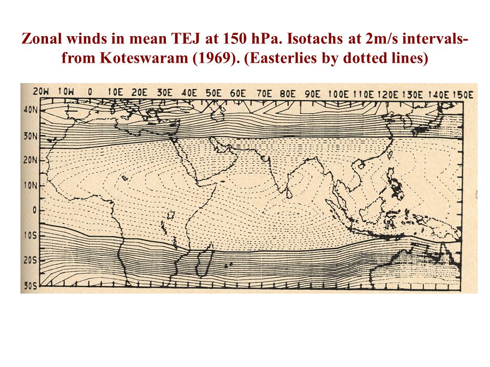 Work in late 1960s by Koteswaram showed that the meridional wind in the TEJ has maximum strength over the equator. If he knew this in 1958 and if he k