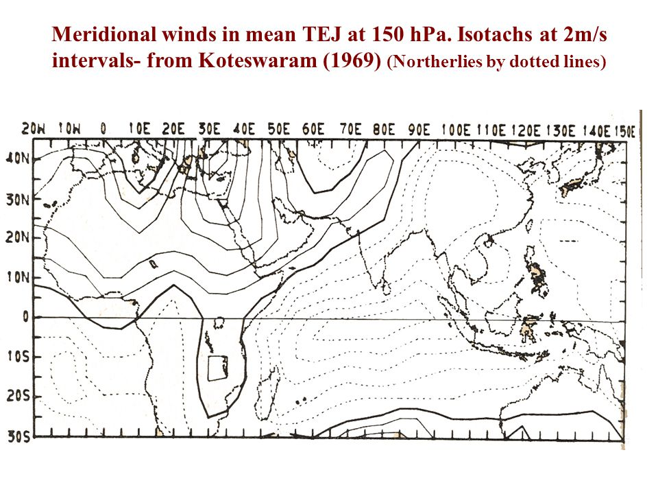Zonal winds in mean TEJ at 150 hPa. Isotachs at 2m/s intervals- from Koteswaram (1969). (Easterlies by dotted lines)