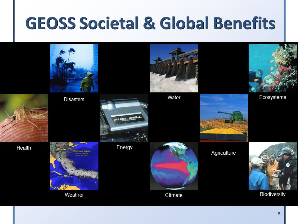 8 GEOSS Societal & Global Benefits Disasters Health Energy Climate Water Weather Ecosystems Agriculture Biodiversity