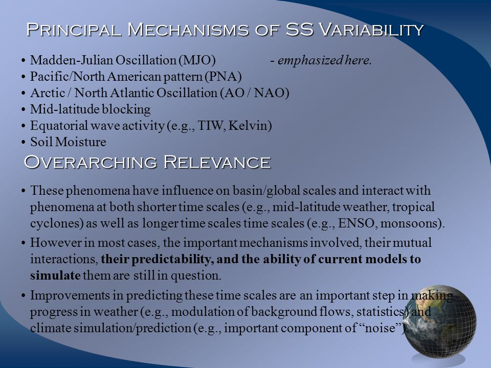 Principal Mechanisms of SS Variability Madden-Julian Oscillation (MJO) - emphasized here.