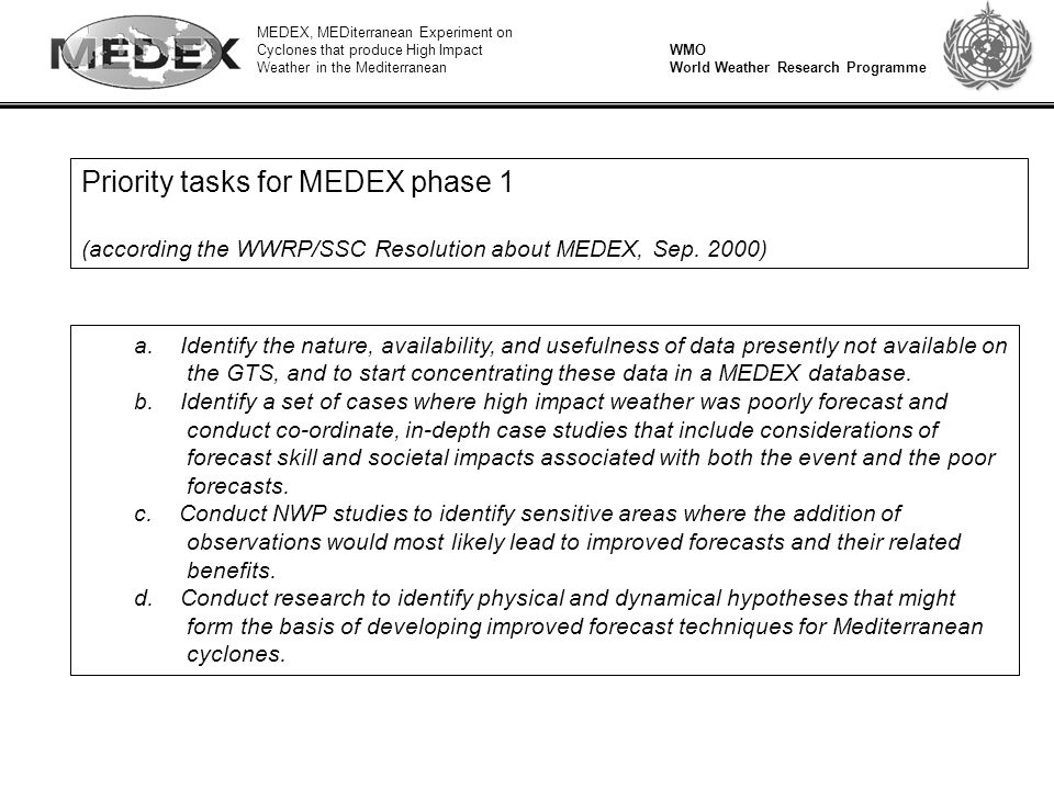 MEDEX, MEDiterranean Experiment on Cyclones that produce High Impact Weather in the Mediterranean WMO World Weather Research Programme Priority tasks for MEDEX phase 1 (according the WWRP/SSC Resolution about MEDEX, Sep.