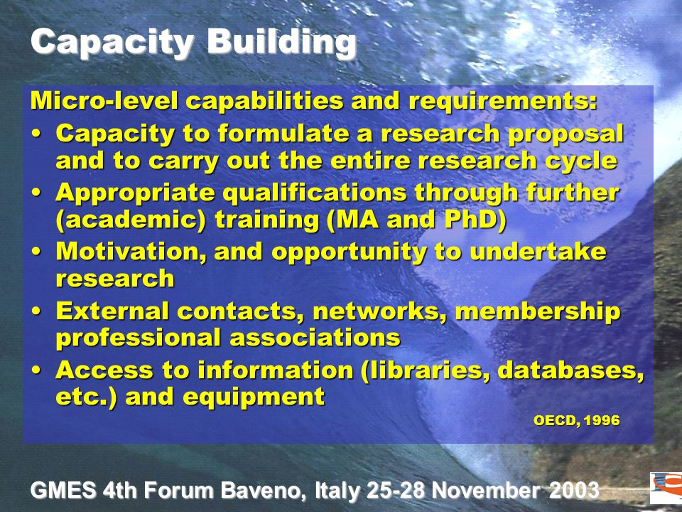 GMES 4th Forum Baveno, Italy 25-28 November 2003 Capacity Building Micro-level capabilities and requirements: Capacity to formulate a research proposa