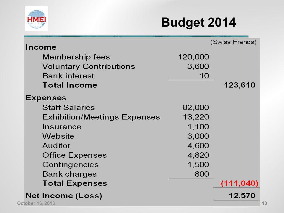 Budget 2014 10October 16, 2013