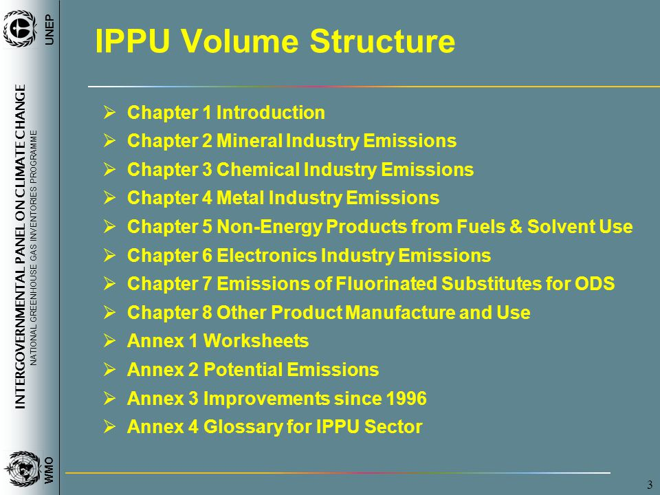 INTERGOVERNMENTAL PANEL ON CLIMATE CHANGE NATIONAL GREENHOUSE GAS INVENTORIES PROGRAMME WMO UNEP 3 IPPU Volume Structure  Chapter 1 Introduction  Chapter 2 Mineral Industry Emissions  Chapter 3 Chemical Industry Emissions  Chapter 4 Metal Industry Emissions  Chapter 5 Non-Energy Products from Fuels & Solvent Use  Chapter 6 Electronics Industry Emissions  Chapter 7 Emissions of Fluorinated Substitutes for ODS  Chapter 8 Other Product Manufacture and Use  Annex 1 Worksheets  Annex 2 Potential Emissions  Annex 3 Improvements since 1996  Annex 4 Glossary for IPPU Sector