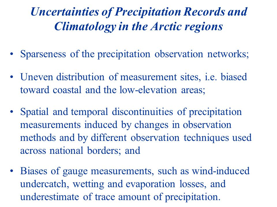 Major Task 1: Evaluation and Implementation of the WMO Bias Correction Methods - threshold wind 6.5m/s Analysis of wind regimes over the arctic regions Focus on winter season and on snowfall days Define regions where the WMO bias correction methods may not be appropriate and therefore alternative approaches or further experimental studies should be considered
