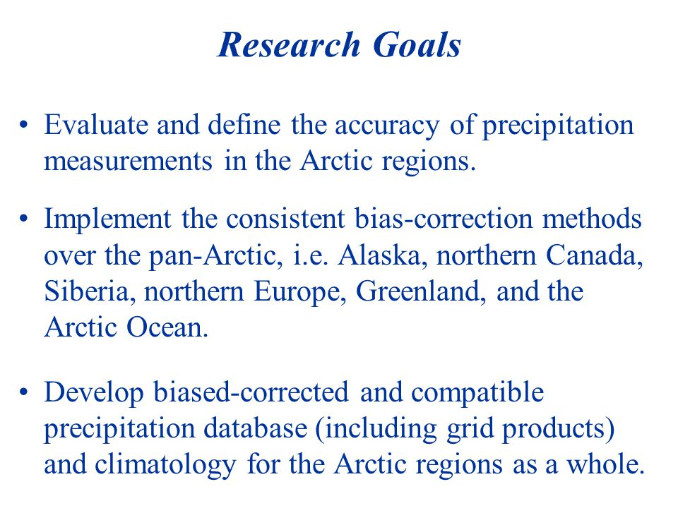 Major Task 2: Development of Bias-Corrected Arctic Precipitation Database and Climatology Implement the WMO methods to all the stations in the Arctic regions for last 30 years, 1970-2000??.