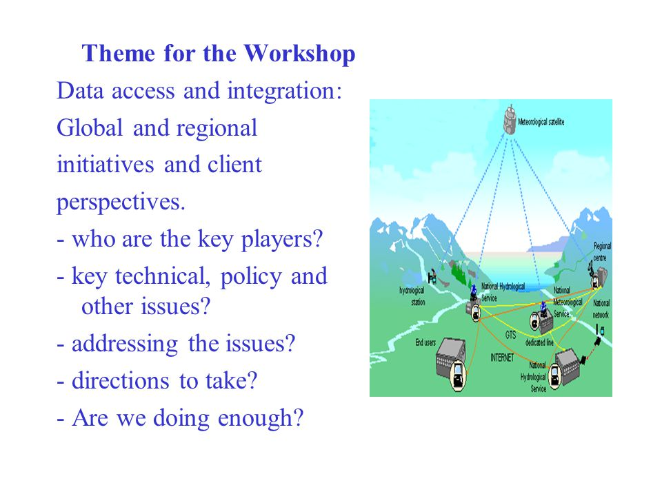 Theme for the Workshop Data access and integration: Global and regional initiatives and client perspectives.