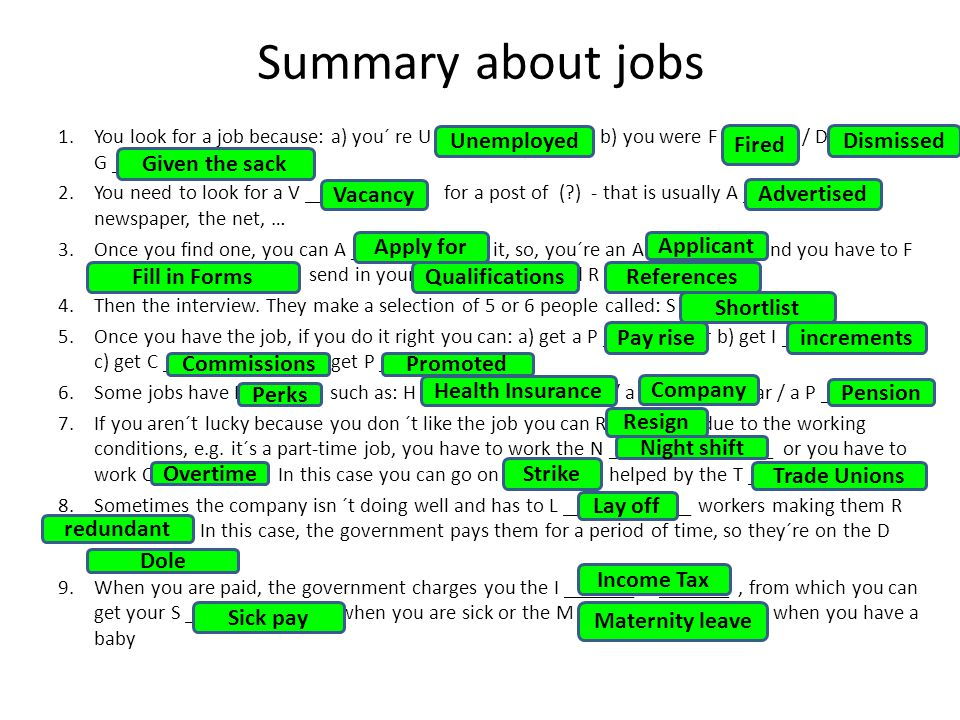 Summary about jobs 1.You look for a job because: a) you´ re U _____________ ; b) you were F _______ / D _____ / G __________ 2.You need to look for a V ________ for a post of ( ) - that is usually A _________ in newspaper, the net, … 3.Once you find one, you can A ________ F ___ it, so, you´re an A _________, and you have to F ______ I ___ F _______ send in your Q __________ and R __________ 4.Then the interview.