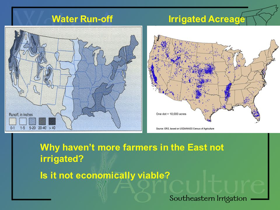 Water Run-offIrrigated Acreage Why haven't more farmers in the East not irrigated? Is it not economically viable?