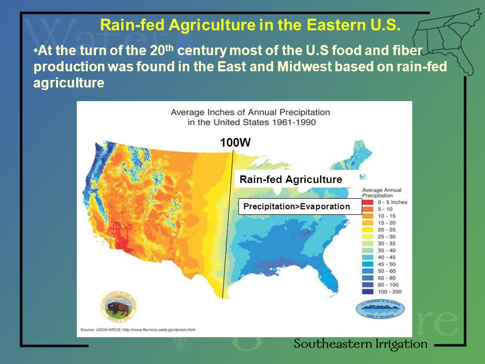 Rain-fed Agriculture in the Eastern U.S. At the turn of the 20 th century most of the U.S food and fiber production was found in the East and Midwest