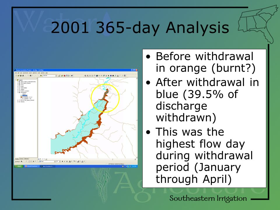 2001 365-day Analysis Before withdrawal in orange (burnt?) After withdrawal in blue (39.5% of discharge withdrawn) This was the highest flow day durin