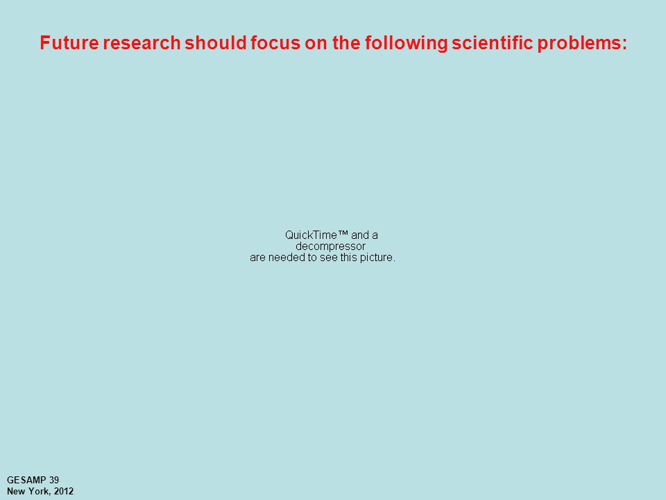 Future research should focus on the following scientific problems: GESAMP 39 New York, 2012