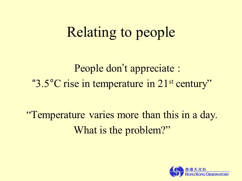 Relating to people People don ' t appreciate : 3.5°C rise in temperature in 21 st century Temperature varies more than this in a day.