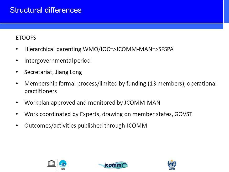 Structural differences ETOOFS Hierarchical parenting WMO/IOC=>JCOMM-MAN=>SFSPA Intergovernmental period Secretariat, Jiang Long Membership formal process/limited by funding (13 members), operational practitioners Workplan approved and monitored by JCOMM-MAN Work coordinated by Experts, drawing on member states, GOVST Outcomes/activities published through JCOMM