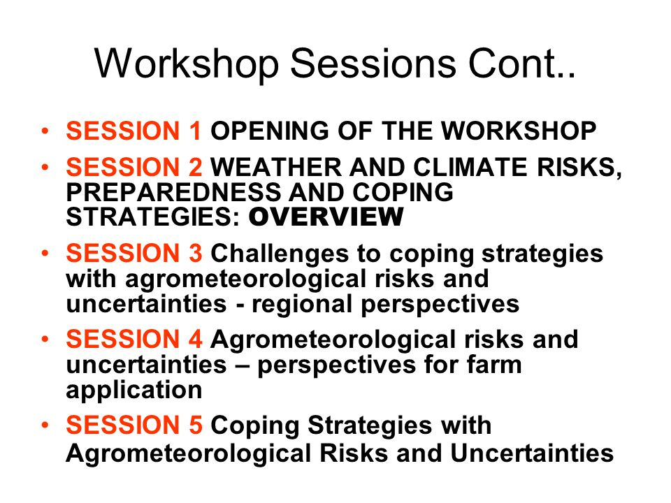 Workshop Sessions Cont..