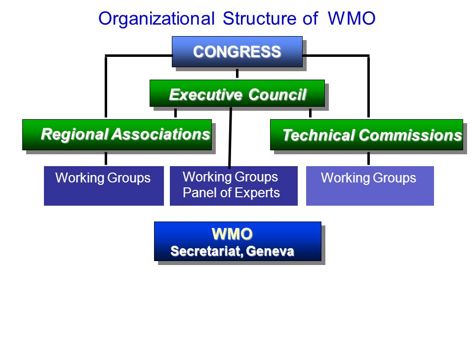 Organizational Structure of WMOCONGRESS Executive Council Regional Associations Technical Commissions Working Groups Working Groups Working Groups Panel of Experts WMO Secretariat, Geneva