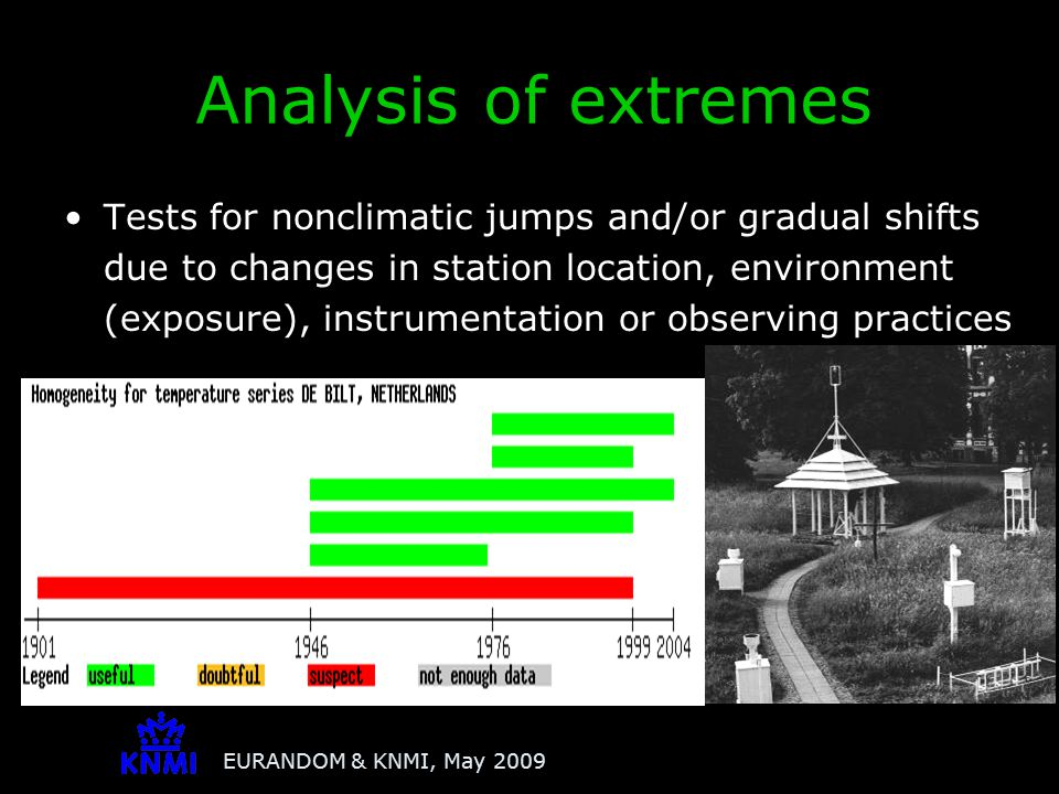 EURANDOM & KNMI, May 2009 Tests for nonclimatic jumps and/or gradual shifts due to changes in station location, environment (exposure), instrumentatio