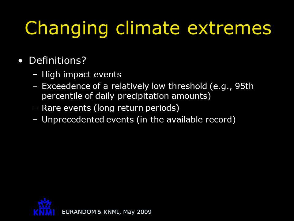 EURANDOM & KNMI, May 2009 De Bilt, the Netherlands Analysis of extremes