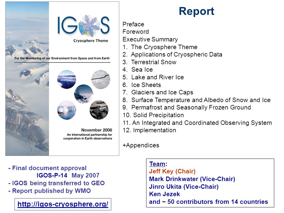 Preface Foreword Executive Summary 1. The Cryosphere Theme 2.