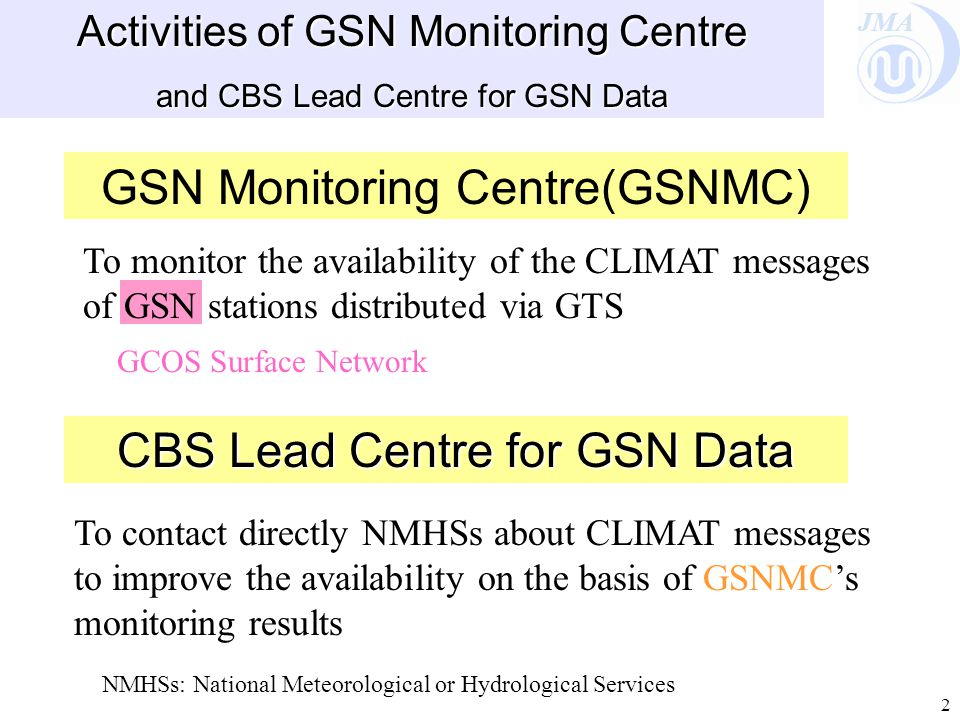 JMA 2 Activities of GSN Monitoring Centre and CBS Lead Centre for GSN Data GSN Monitoring Centre(GSNMC) To monitor the availability of the CLIMAT messages of GSN stations distributed via GTS CBS Lead Centre for GSN Data To contact directly NMHSs about CLIMAT messages to improve the availability on the basis of GSNMC's monitoring results GCOS Surface Network NMHSs: National Meteorological or Hydrological Services