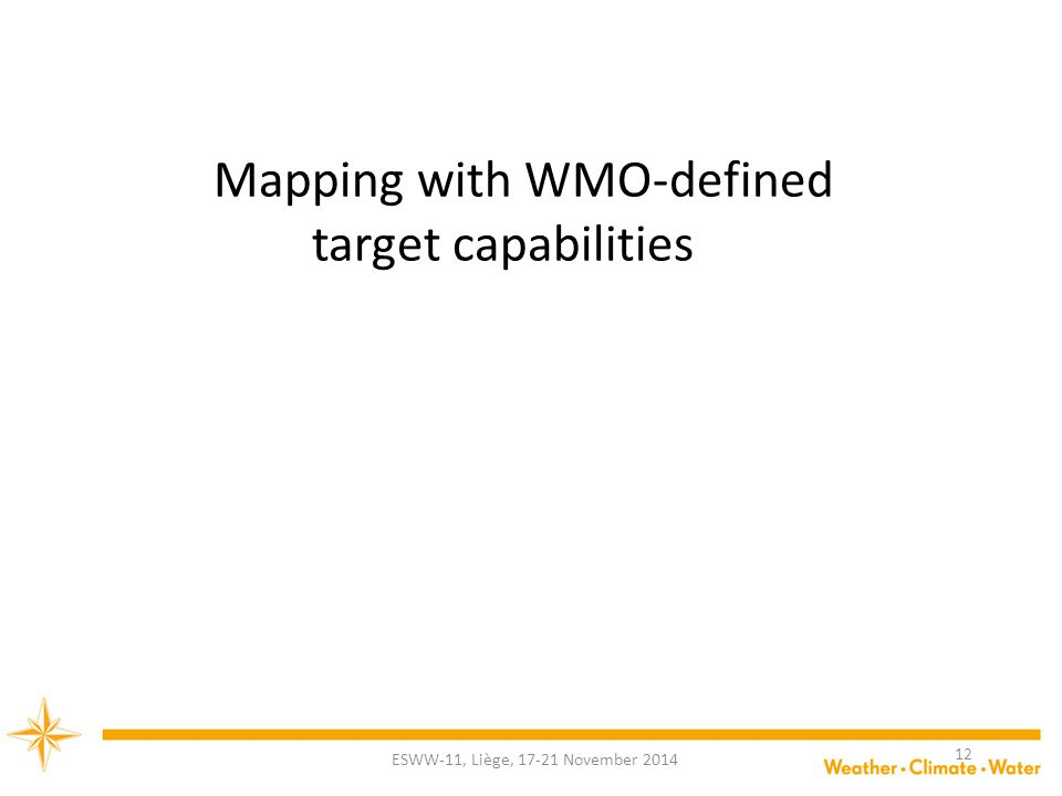 Mapping with WMO-defined target capabilities ESWW-11, Liège, 17-21 November 2014 12