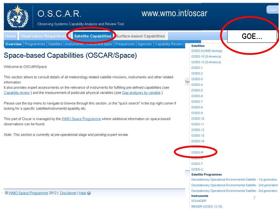 Quicksearch box (www.wmo.int/oscar) GOE… www.wmo.int/oscar 7