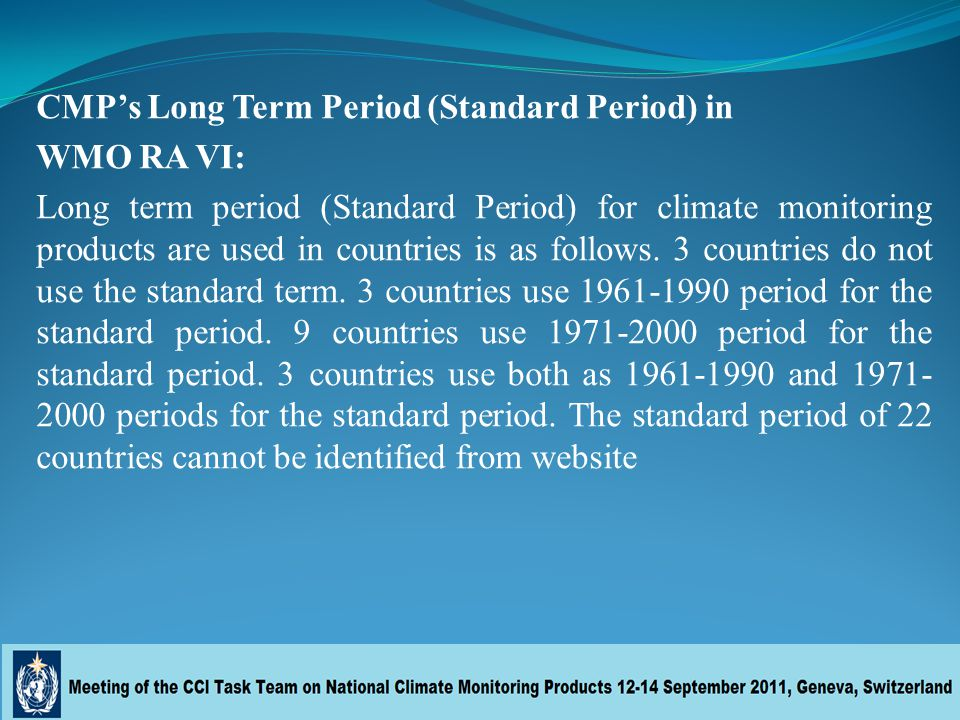 CMP's Long Term Period (Standard Period) in WMO RA VI: Long term period (Standard Period) for climate monitoring products are used in countries is as follows.