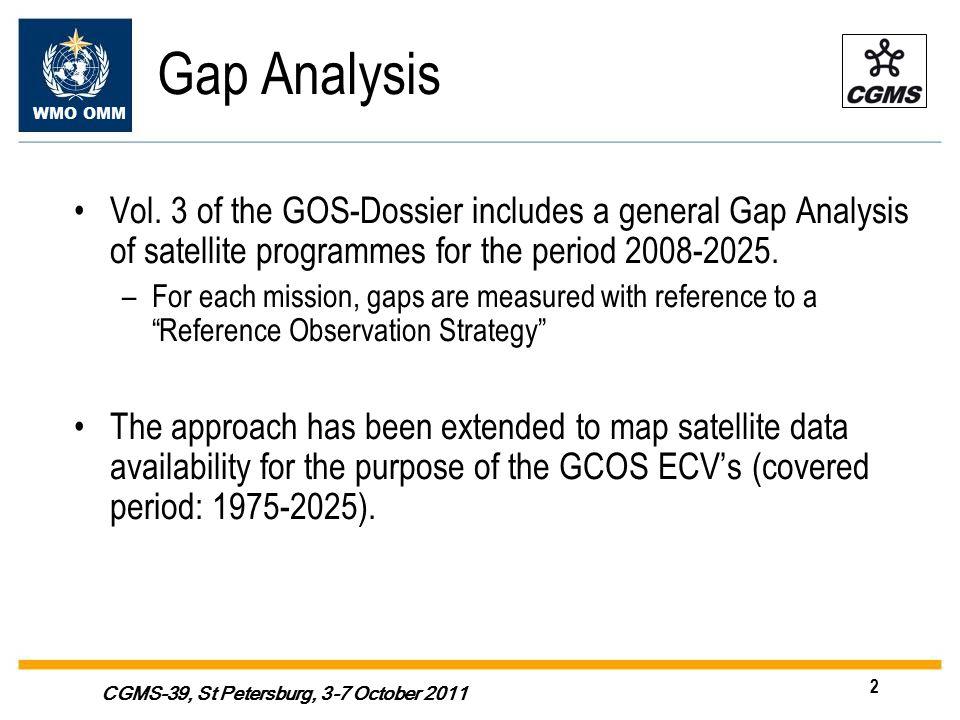 WMO OMM 2 CGMS-39, St Petersburg, 3-7 October 2011 Gap Analysis Vol.
