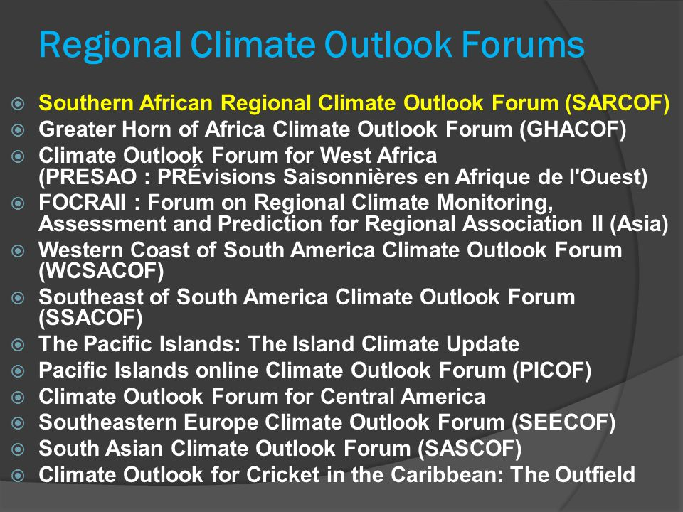 Typical RCOF forecasts