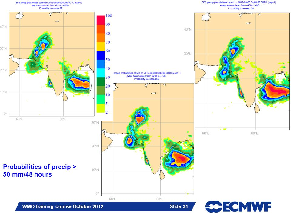 Slide 31 WMO training course October 2012 Slide 31 Probabilities of precip > 50 mm/48 hours
