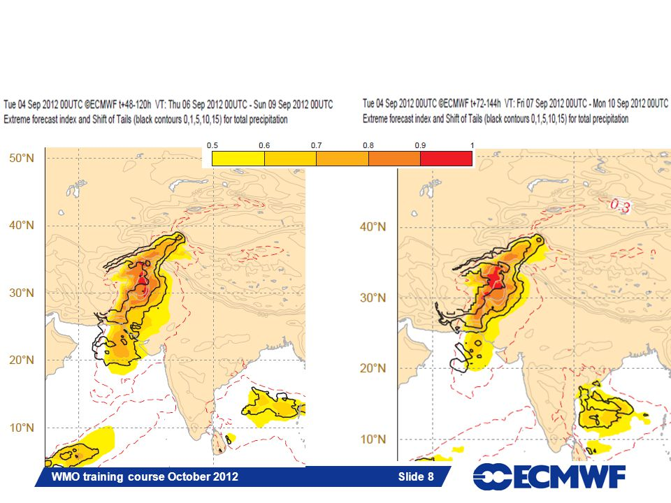 Slide 19 WMO training course October 2012 Slide 19 T1279 based on 6/Sept/2012; 00 UTC: MSL and 12 hours accumulated precip