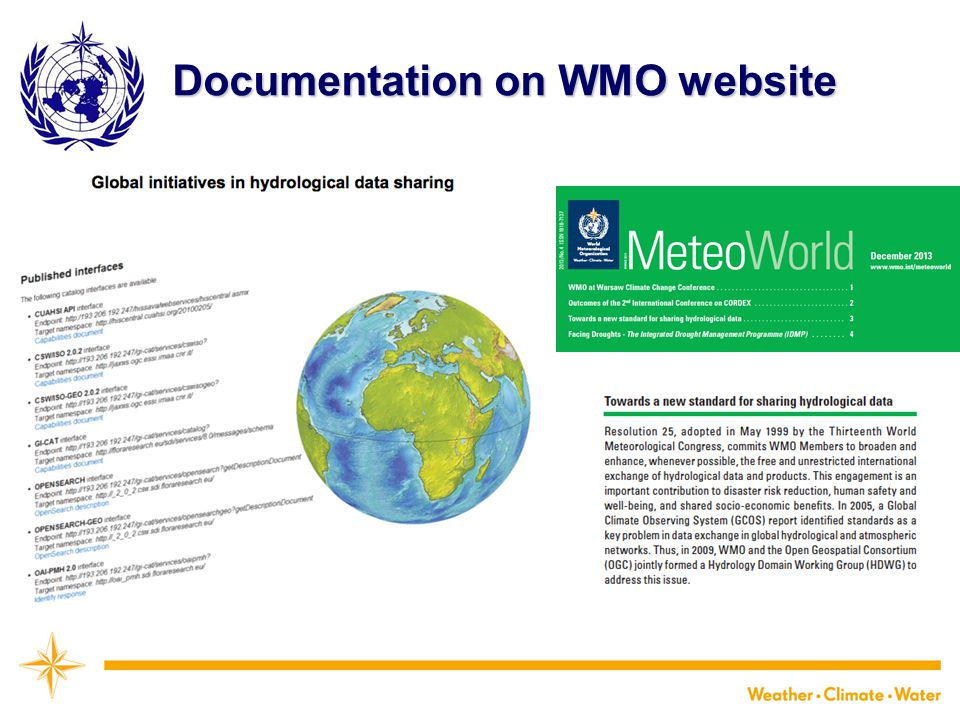 Documentation on WMO website