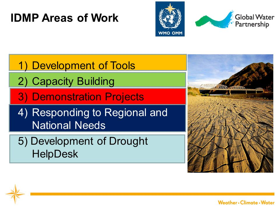 IDMP Areas of Work 1)Development of Tools 2)Capacity Building 3)Demonstration Projects 4)Responding to Regional and National Needs 5) Development of D