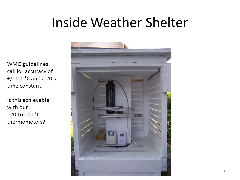 Inside Weather Shelter 6 WMO guidelines call for accuracy of +/- 0.1 °C and a 20 s time constant.