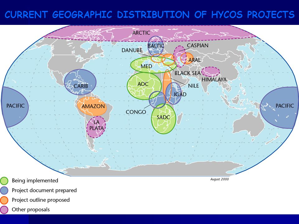 CURRENT GEOGRAPHIC DISTRIBUTION OF HYCOS PROJECTS